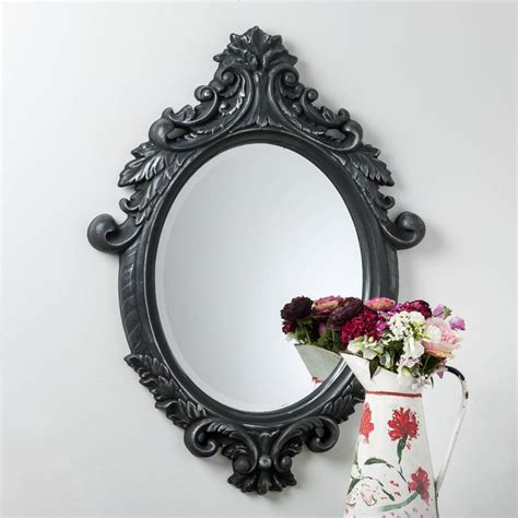 Handcrafted Mirrors - black and silver ornate oval mirror by crafted