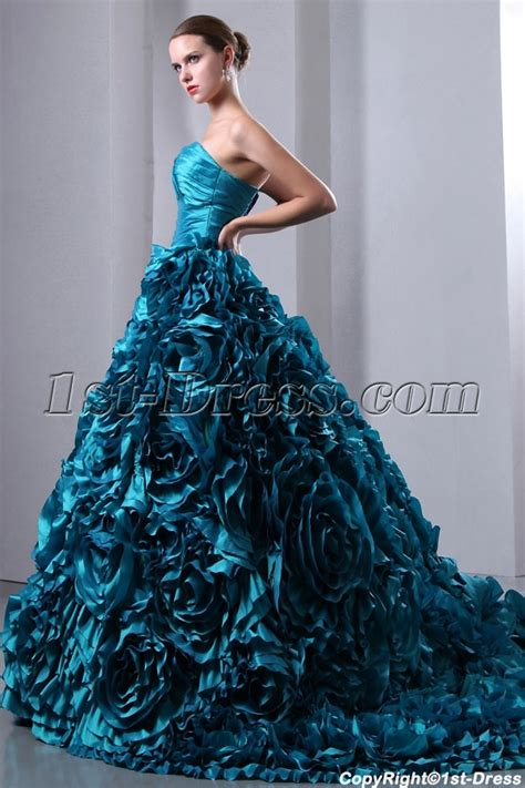 3d wedding luxurious teal blue 3d handmade floral bridal gowns 2014 with sweetheart 1st dress