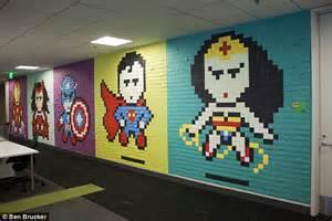 Whole Wall Murals 8 024 post it notes create superhero portraits at ebay