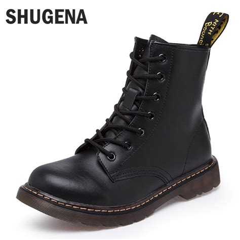 shu ge na genuine leather martin boots winter motorcycle