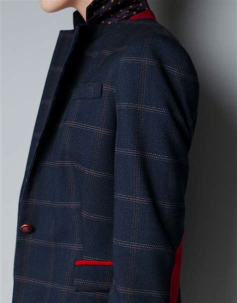 zara with checked patches in zara checked wool blazer with patches in blue navy lyst