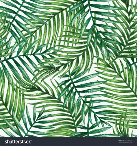 palm leaf pattern vector watercolor tropical palm leaves seamless pattern vector