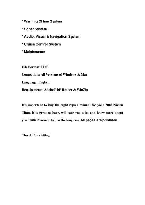 service manuals schematics 2008 nissan titan on board diagnostic system 2008 nissan titan service repair manual download