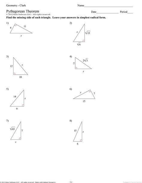 pythagorean theorem worksheet pythagorean theorem worksheets kuta math pythagorean