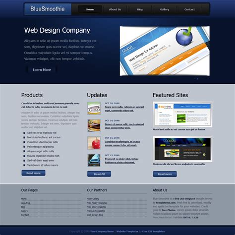 332 Blue Smoothie Template Smoothie Website Template