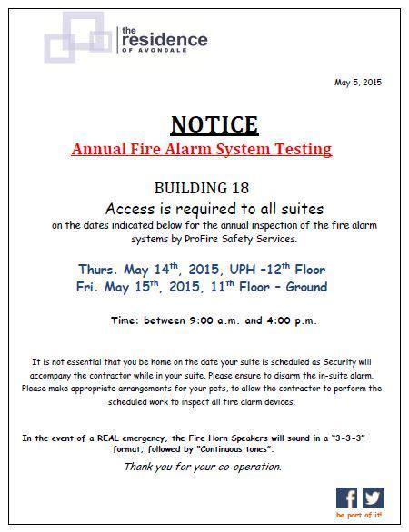 Residence Avondale Tscc1633 Twitter Alarm Testing Notice Template
