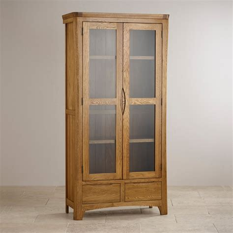 orrick rustic oak tv cabinet orrick glazed display cabinet in rustic oak oak