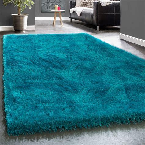 teppich einfarbig edler teppich shaggy einfarbig t 252 rkis hochflor teppiche