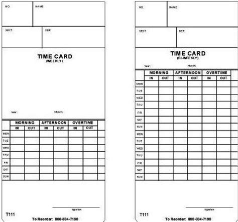coglab 5 login bi weekly time card 250 cards in a pack made
