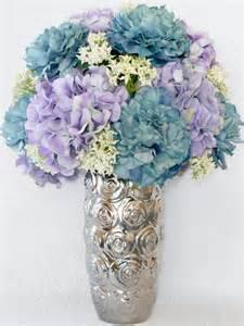 artificial flower arrangement teal peonies lavender