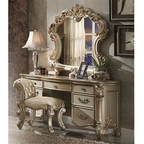 vendome bedroom luxury vanity table makeup desk mirror scrolled gold patina wood