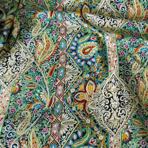 S4 Satin Motif 2 aliexpress buy paisley ethnic print cotton fabric patchwork sewing rayon poplin fabric for
