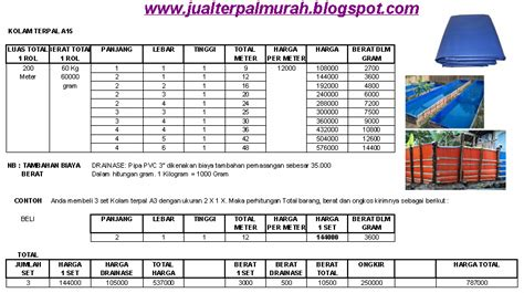 daftar harga kolam terpal a15 cv barokah alam robbany