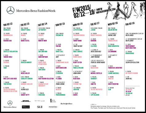 Mercedes Ny Fashion Week by Mercedes New York Fashion Week Schedule New York