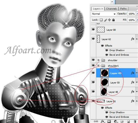 tutorial photoshop robot 3d metallic sexy robot girl in photoshop or how to make