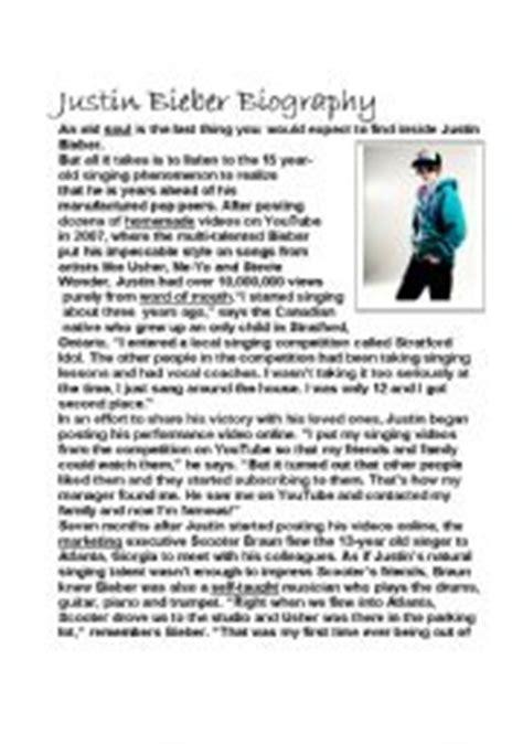 justin bieber biography reading comprehension english worksheet justin bieber biography