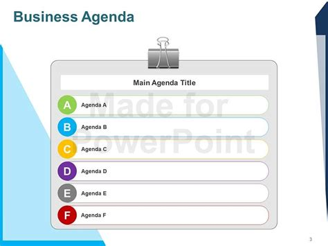 Business Agenda Editable Powerpoint Template Presentation Agenda Template