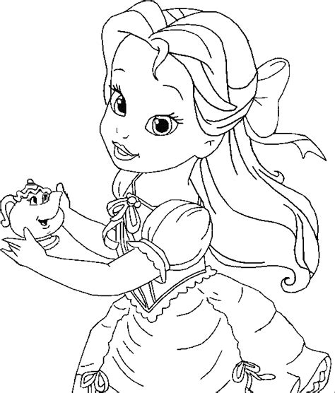 little girl princess coloring page little belle coloring for kids princess coloring pages