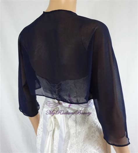 Bridal Navy Blue Chiffon Jacket, Wedding Bolero Jacket