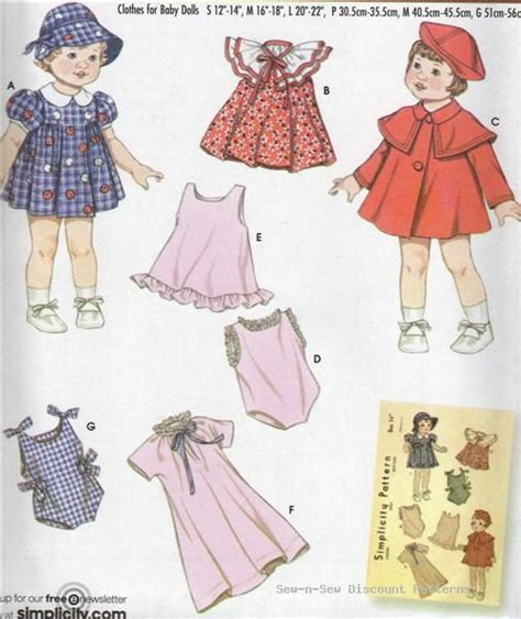 simplicity vintage baby doll clothes pattern 12 18 quot 22