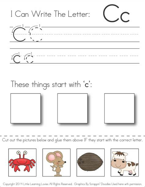 preschool printable worksheets letter c subscriber exclusive freebie letter c write cut