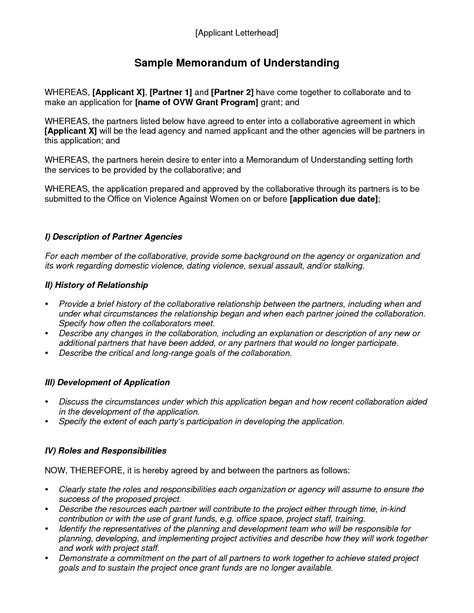 Vs Letter Of Agreement Memorandum Of Understanding Template Best Template