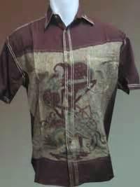 Hem Kemeja Batik Katun Hfu 09 batik katun murah dengan wayang simple klasik