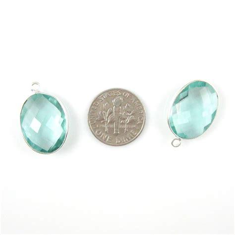 wholesale sterling silver oval bezel aqua quartz gemstone