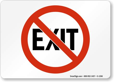 Symbol For Bathroom by No Exit Signs Exit Entrance Signs Sku S 1266