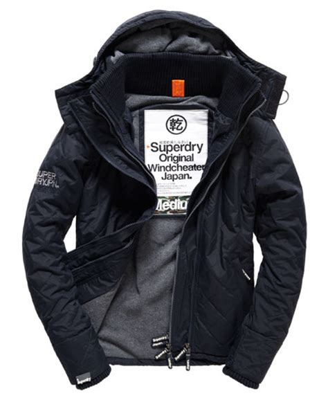Jaket Windcheater City 1 mens quilted hooded polar windcheater jacket in navy grey marl superdry