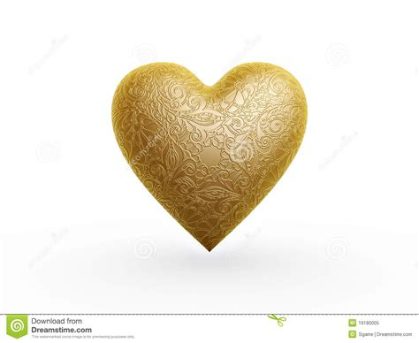gold heart pattern gold heart with flower pattern royalty free stock photo
