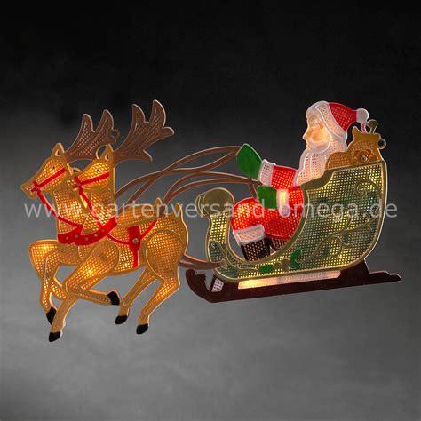 Weihnachtsdekoration Schlitten by Led Fensterbild Rentier Mit Weihnachtsmann Und Schlitten
