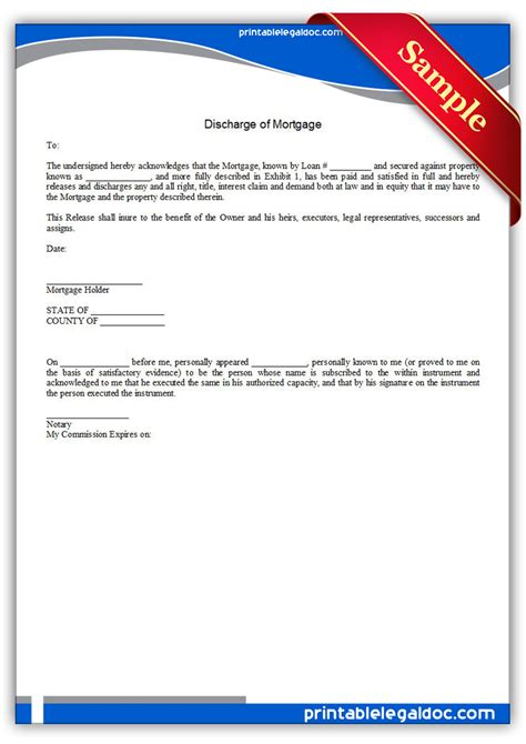 Mortgage Discharge Letter Canada Free Printable Discharge Of Mortgage Form Generic