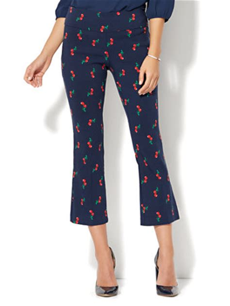 Cherry Pant ny c 7th avenue pant pull on kick ankle pant modern cherry print