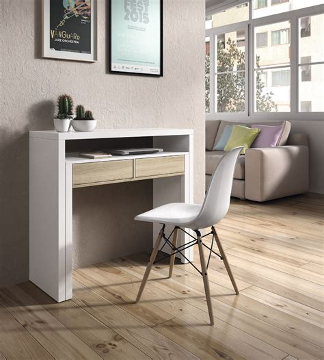 extendable desk tressa white with oak extending console dressing table