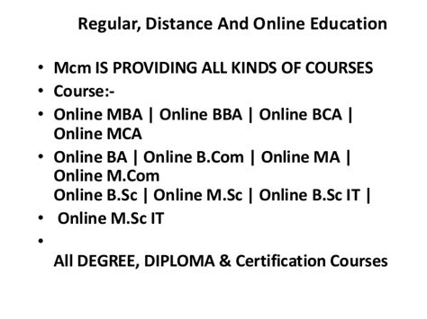 Is Distance Degree Valid For Mba by Distance Education Regular Mcm Academy
