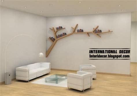 modern wall shelves in tree branches style tree shelves