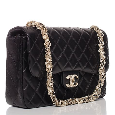 chanel bag chanel black lambskin westminster pearl flap bag at 1stdibs