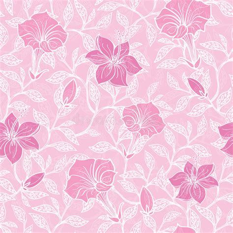 pattern pink soft vector soft pink lineart blossoms seamless pattern stock