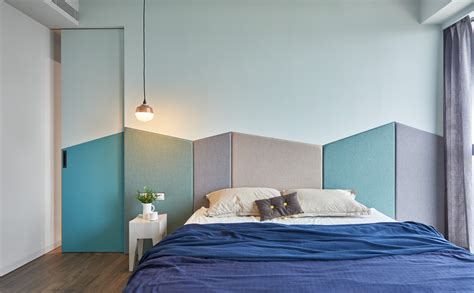 colorful headboard modern apartment design with colorful accent that perfect