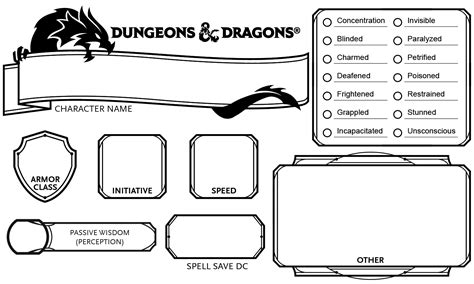 dnd 5th edition template 3x5 card 5e initiative status tracker 3x5 quot index card dnd