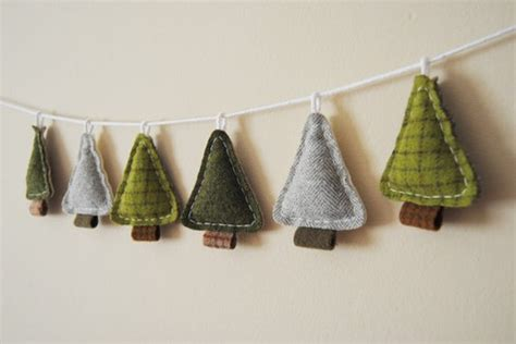 homespun woodland christmas tree woodland garland primitive pine trees by what no mints contemporary