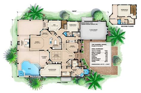 house plans florida florida style mediterranean home with 3 bdrms 3810 sq