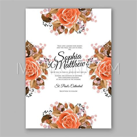 Unique Orange Wedding Invitations by Orange Floral Wedding Invitation Printable Gold