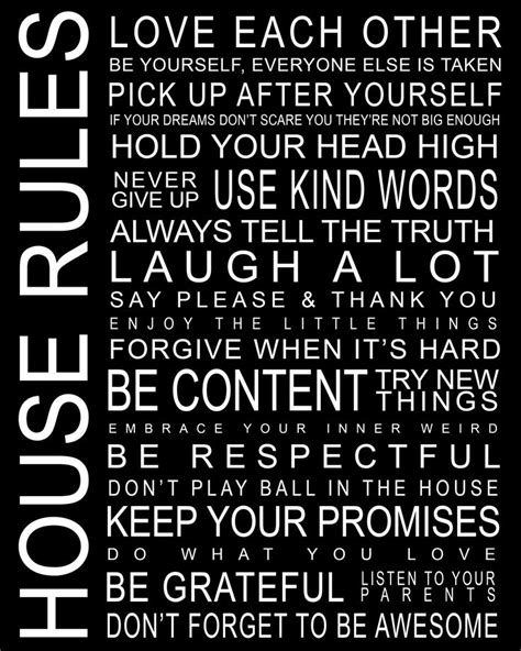 printable house rules house rules black print this pinterest