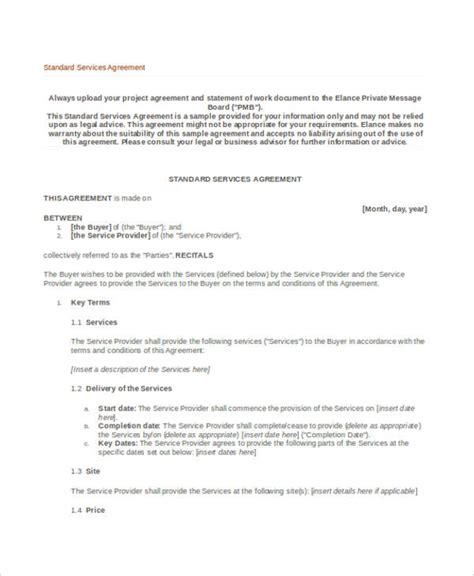 basic service agreement template 32 basic contract templates free premium templates