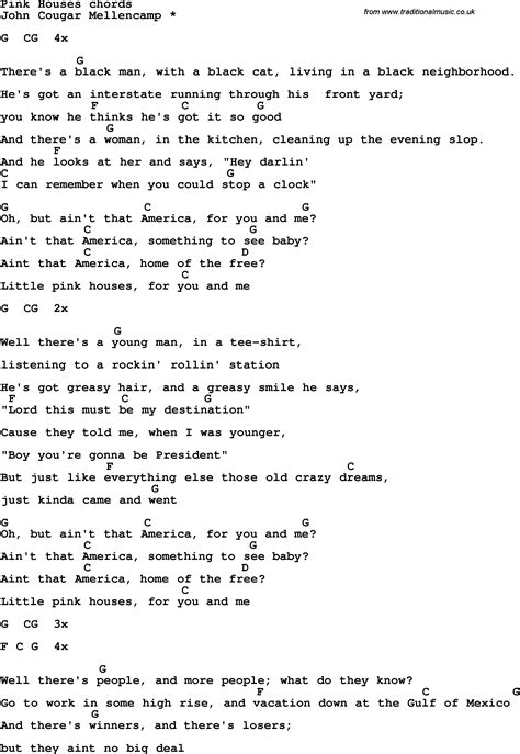 pink houses lyrics song lyrics with guitar chords for pink houses