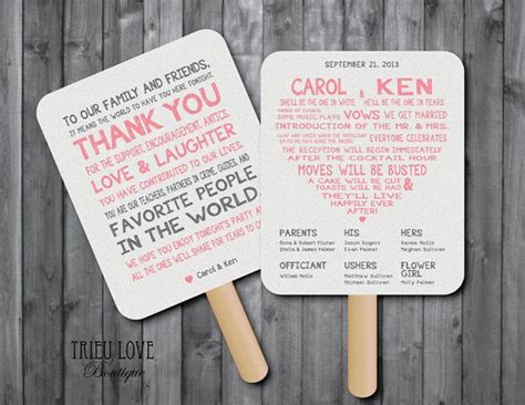 Wedding Ceremony Fans by Personalized Sweetheart Wedding Ceremony Program Fan
