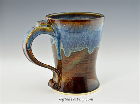 handmade stoneware coffee mug blue brown gifted