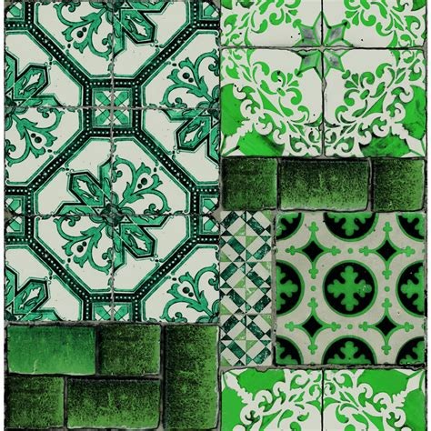 wallpaper easy superfresco easy wallpaper portuguese tile green at wilko com